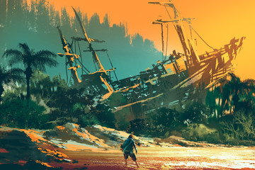 Fototapeta Marynistyczny the castaway man standing on island beach with abandoned boat at sunset, illustration painting