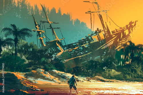 the castaway man standing on island beach with abandoned boat at sunset, illustration painting - 142779400