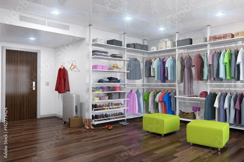 Fotografie, Obraz  Ankleideraum - begehbarer Kleiderschrank - Ankleidezimmer - interior