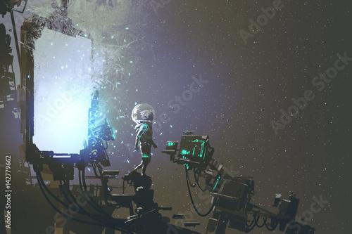 Photo  the astronaut walking out through futuristic portal, sci-fi concept, illustratio