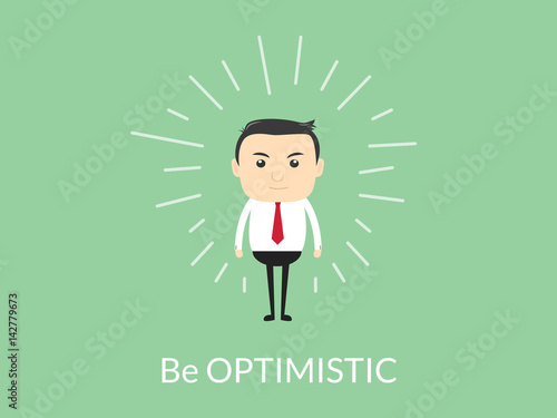 be optimistic quotes illustration with business man standing on top of the text Wallpaper Mural