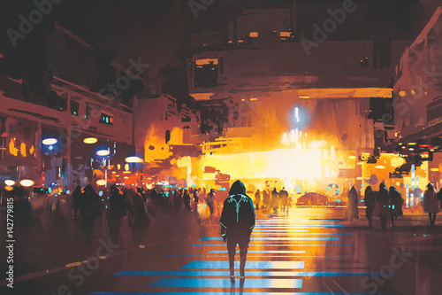 Foto op Aluminium Grandfailure man standing on street looking at futuristic city at night, sci-fi concept, illustration painting