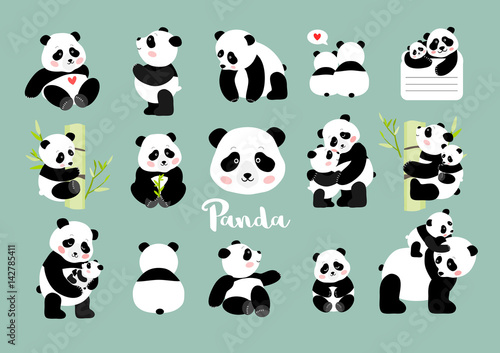 Fotografie, Obraz  Set of Panda figures, isolated vector illustration