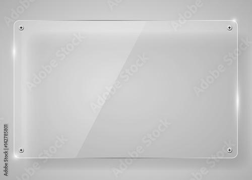 Fotografie, Obraz  Realistic horizontal transparent glass frame with shadow