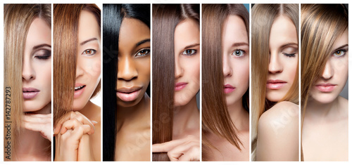 Fotobehang Kapsalon Collage of women with various hair color, skin tone and complexion