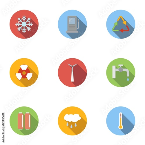 Photo Production of energy icons set, flat style