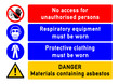Leinwanddruck Bild - smms2 SafetyMultiMessageSign smms - english - No access for unauthorised persons - Respiratory equipment and protective clothing must be worn - Danger - Materials containing asbestos - poster - g5164