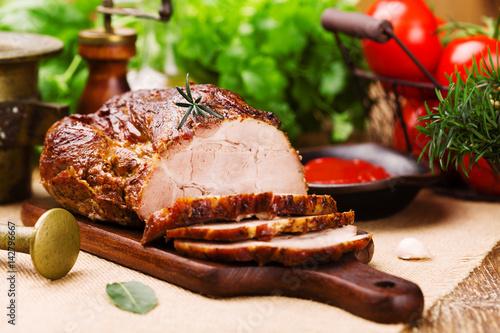Fotografie, Obraz  Roast pork with tomato dip and herbs.