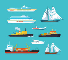Set Of Ships In Modern Flat Style: Ships, Boats, Ferries.