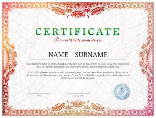 Certificate template with guilloche elements. Red diploma ...