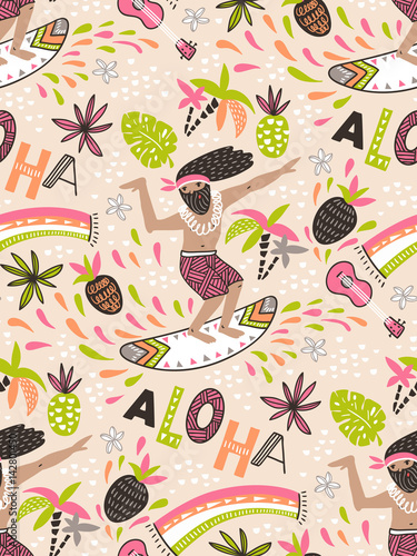 Cotton fabric Seamless vector pattern with surfer and ornamental phrase - ALOHA - on the pink background. Seamless bright tropical design.