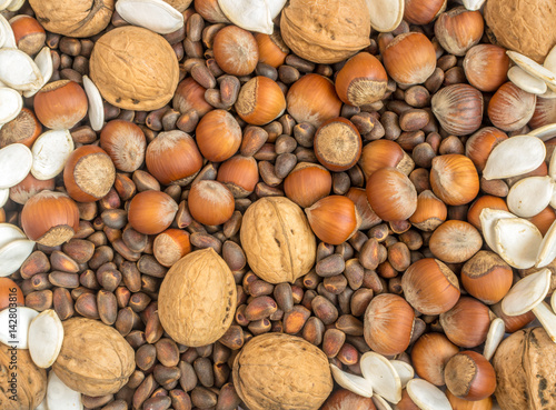 Stampe  Collection of Walnuts, Hazelnuts, Pine Nuts and Pumpkin seeds