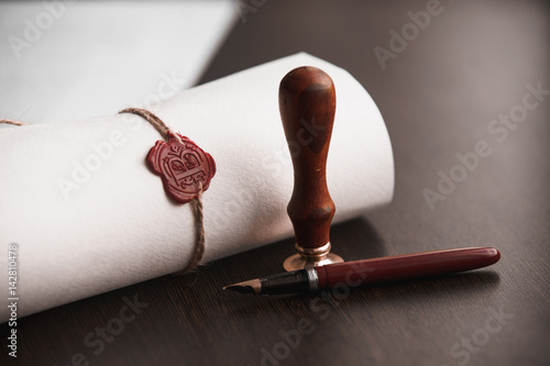 Fotomural Last Will and testament document with pen and notary seal