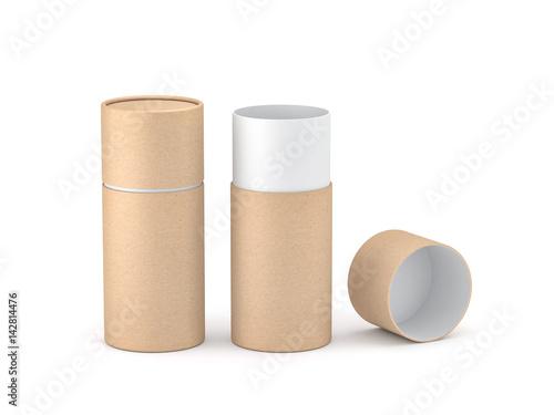 Fotografie, Obraz  Opened Kraft paper tube tin can Mockup, 3d rendering