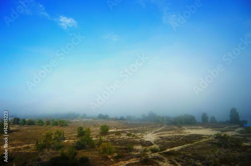 Spoed Foto op Canvas Blauwe hemel Landscape with fog and blue sky. Trees in the morning mist