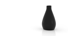 Empty Black Vase On White Background.