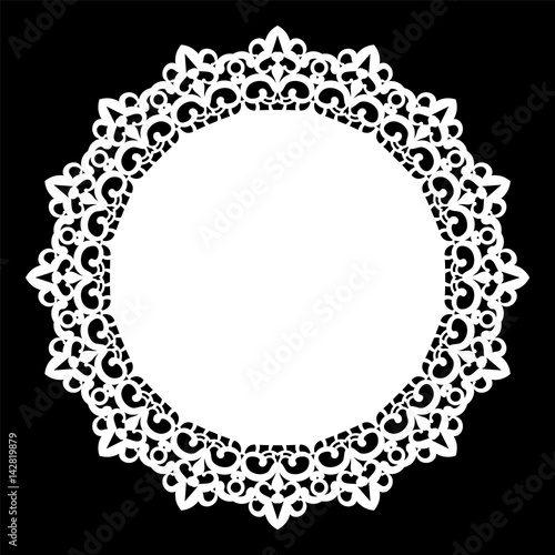 Valokuva Lace round paper doily, lacy snowflake, greeting element, laser cut  template, doily to decorate the cake,  vector illustrations