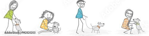 Carta da parati  Homme et femme avec un chien