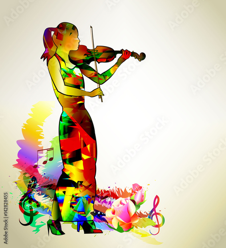 Recess Fitting Floral woman Musician. Violin player, girl playing classical violin