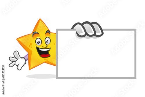 Deurstickers Uilen cartoon star mascot with blank business card, star character, star cartoon vector