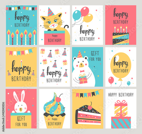 Happy Birthday Card Set Vector Illustration Buy This Stock