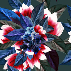 FototapetaBeautiful floral pattern with leafs and flowers