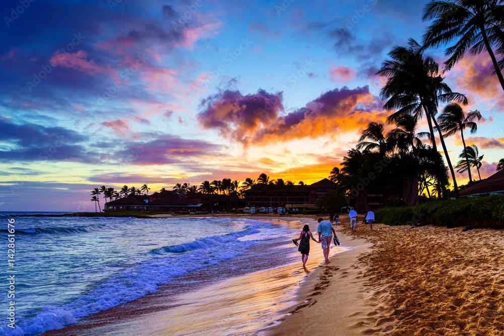 Fototapeta A Romantic Sunset on Kauai, Hawaii
