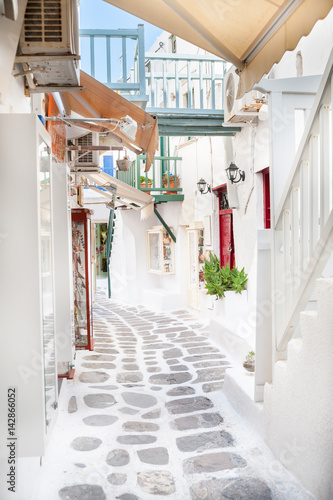 Narrow alley on Mykonos
