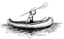 American Native In The Canoe