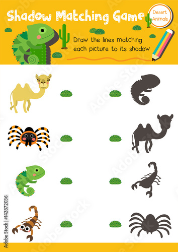 shadow matching game of desert animals for preschool kids activity worksheet layout in a4. Black Bedroom Furniture Sets. Home Design Ideas