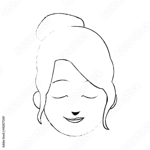 Face Of Young Pretty Woman With Closed Eyes Cartoon Icon Image
