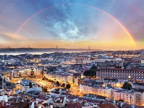 Lisbon with rainbow - Lisboa cityscape, Portugal
