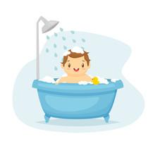 Cute Baby Boy In Bath Cartoon Vector