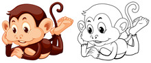Animal Outline For Monkey Rela...