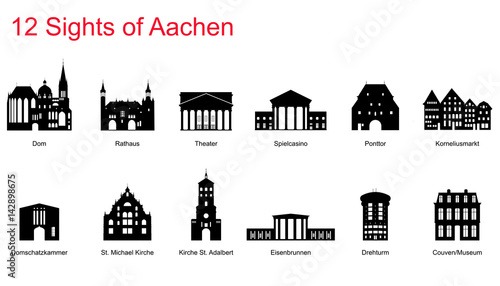 12 Sights of Aachen Canvas Print