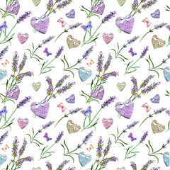 Fototapeta Malarstwo Lavender flowers, hearts, butterflies. Seamless pattern. Watercolor