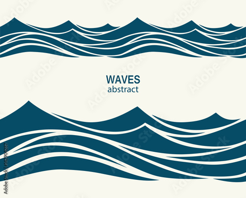 Wall Murals Abstract wave Marine seamless pattern with stylized blue waves on a light back