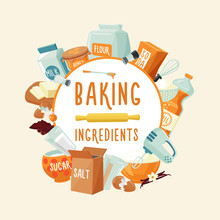 Colorful Baking Ingredients Ro...