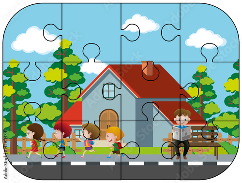 Foto op Aluminium Pixel Jigsaw puzzle game with kids in neighborhood