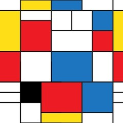 Fototapeta Style Seamless pattern. Colorful background in mondrian style. Vector illustration. Abstract background of colored rectangles.