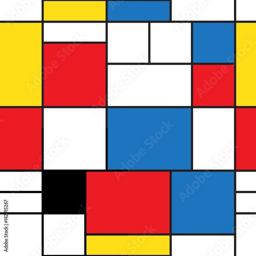 Seamless pattern. Colorful background in mondrian style. Vector illustration. Abstract background of colored rectangles. - 142915267
