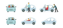 Couple Of People In The Car. Set Of Situations. A Man Pushes Car