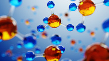 3d Illustration Of Molecule Model. Science Background With Molecules And Atoms.