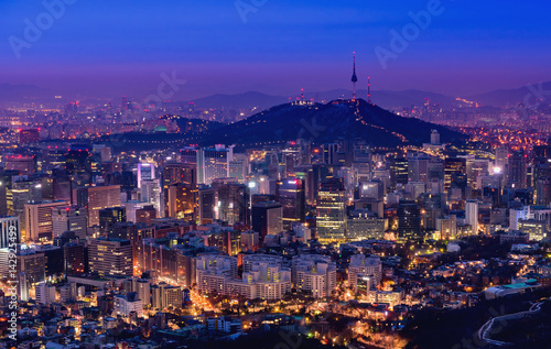 Staande foto Seoel Korea,Seoul city and namsan tower at night