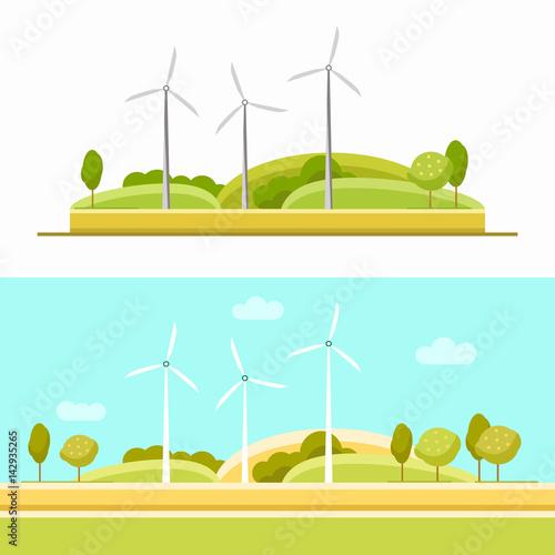 Fotobehang Lichtblauw Wind turbine set