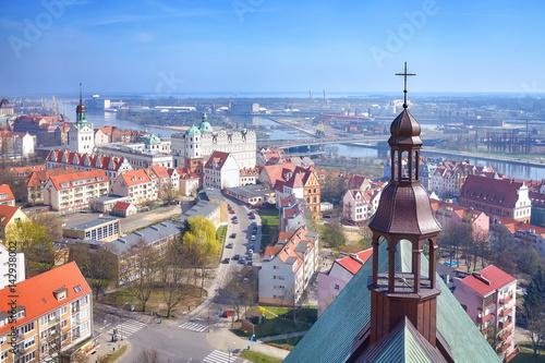 Obraz Aerial view of Szczecin city downtown with Odra River view, Poland. - fototapety do salonu