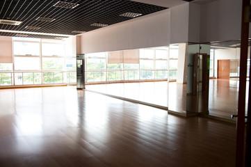 Empty dancing room with hardwood floor and mirror.