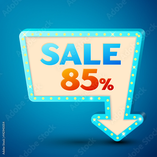 Fotografia  Retro billboard with shining lamps and arrow with inscription sale 85 percent discounts on blue background