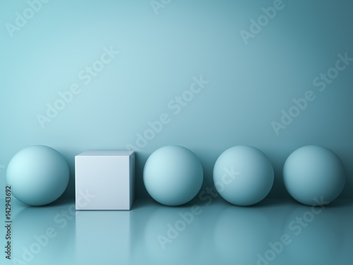 Fotografie, Obraz  Stand out from the crowd and different creative idea concepts , One white square box standing among green spheres on green background in the row with reflections and shadows