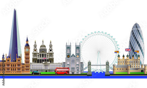 London city skyline abstract vector color illustration. Isolated Canvas Print